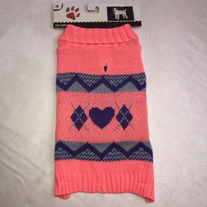 Other - Dog Pet Sweater Argyle Heart Peach Purple Gray M L